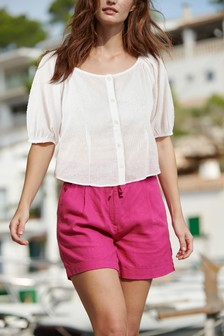 Bright Pink Linen Blend Shorts