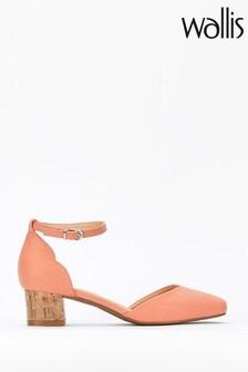 Wallis Orange Becca Coral Ankle Strap Low Block Heels