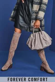 Taupe Forever Comfort® Over The Knee Cleat Heeled Boots