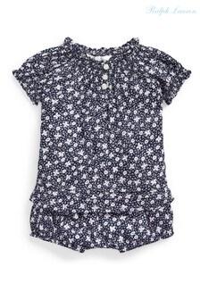Ralph Lauren Navy Floral T-Shirt And Bloomers Set