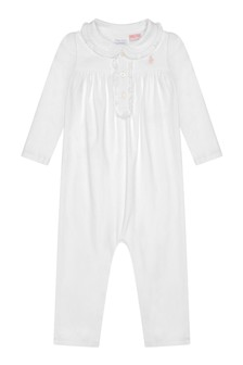 Girls White Cotton Polo Babygrow