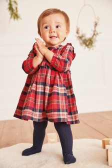 Red Check Frill Woven Dress (0mths-2yrs)