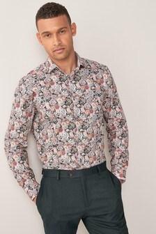 Pink Watercolour Regular Fit Single Cuff Floral Print Trim Detail Shirt