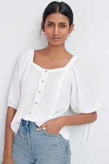 White Sparkle Tie Sleeve Square Neck Top