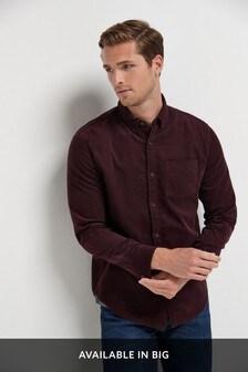 Berry Regular Fit Long Sleeve Cord Shirt