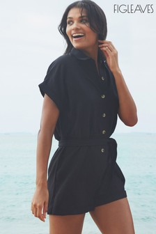 Figleaves Black San Sebastian Button Down Shirt Playsuit