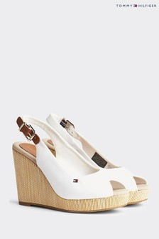 Tommy Hilfiger White Elena Slingback High Wedges