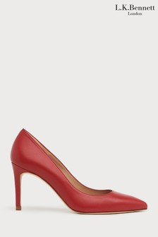L.K.Bennett Red Floret Suede Pointed Toe Courts