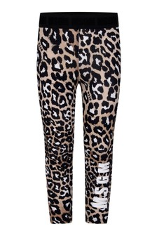 Girls Leopard Print Cotton Jersey Leggings