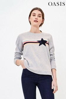 Oasis Grey Stripe Star Sweater