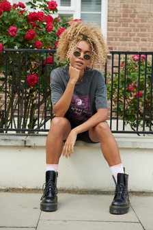 Charcoal Oversized Tokyo Graphic T-Shirt
