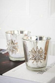 Set of 2 Mercury Glass Tealight Holders