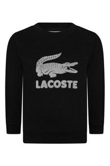 Boys Cotton Black Big Logo Sweatshirt