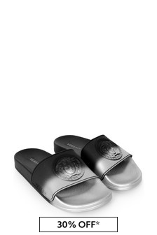 Boys Silver And Black Logo Sliders