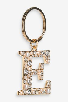 Gold Tone Pearl Effect Initial Keyring