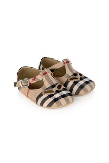 Baby Beige Vintage Check Cotton Pre-Walker Shoes