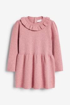 Pink Frill Neck Jumper Dress (3mths-7yrs)