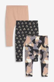 Charcoal/Stone/Blush 3 Pack Jersey Scandi Print Leggings (3mths-7yrs)