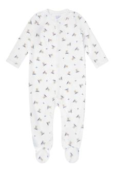 Boys White  Blue Cotton Bear Babygrow