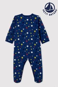 Navy Petit Bateau Navy Star Sleepsuit