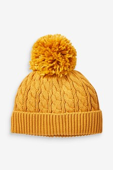 Ochre Cable Hat With Pom (0mths-2yrs)