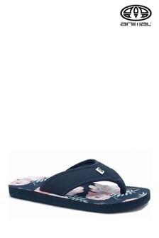 Animal Blue Swish Print Flip Flops