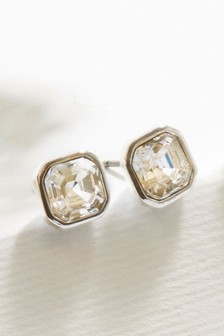 Silver Plated Stud Earrings With Swarovski® Crystals