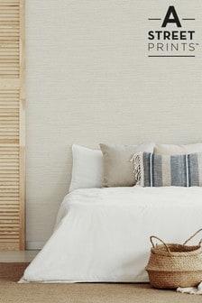 A Street Cream Grasscloth Textured Wallpaper