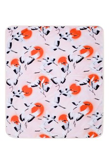 Baby Girls Pink Crane Organic Cotton Blanket