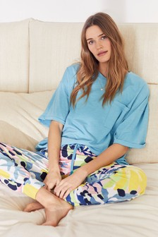 Turquoise Floral Cotton Blend Pyjamas