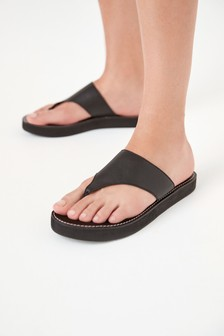 Black Regular/Wide Fit Platform Toe Post Mules
