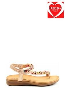 Heavenly Feet Gisela Ladies Rose Gold Toe Loop Sandals