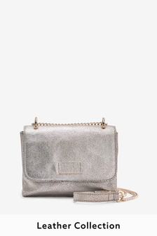 Silver Leather Cross-Body Bag With Chain Strap