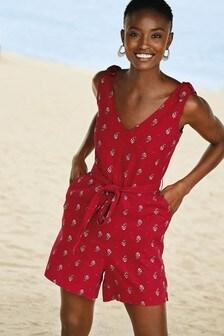 Red Linen Blend Playsuit