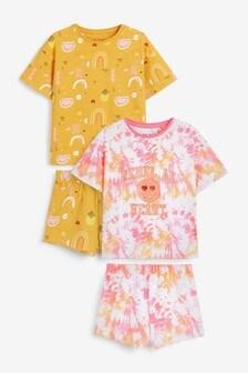 Ochre/Pink 2 Pack Tie Dye Short Pyjamas (3-16yrs)