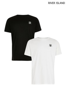 River Island White Embroidered T-Shirt Two Pack