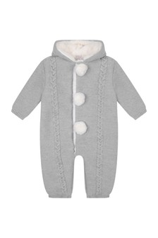 Baby Grey Wool Knitted Pram Suit