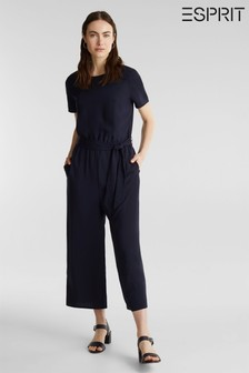 Esprit Blue Short Sleeve Jumpsuit With Wide Leg And Waistband