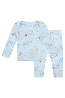 Baby Boys Blue Jersey Horses Doodle Tracksuit