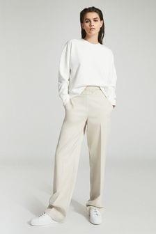 Reiss White Brooke Relaxed Loungewear Sweatshirt
