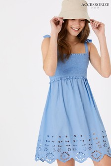 Accessorize Blue Broderie Hem Bandeau Dress