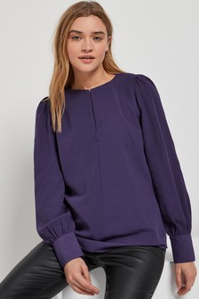 Purple Keyhole Long Sleeve Blouse