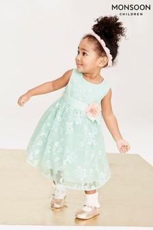 Monsoon Green Baby Sylvie Dress