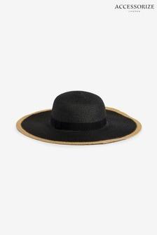Accessorize Black Contrasterling Silver Edge Plain Floppy Hat