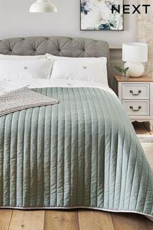 Sage Green Reversible Cotton Rich Bedspread