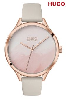 HUGO Smash Leather Strap Watch