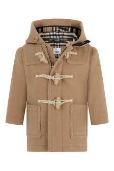 Baby Boys Beige Vintage Check Wool Coat