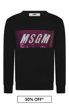 Girls Black Cotton Sequin Logo Sweater