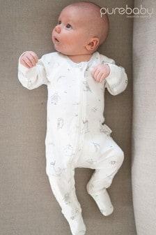 Purebaby Grey Organic Cotton Seaside Zip Sleepsuit