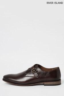 River Island Dark Brown Monk Strap Shoes